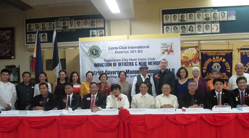 Photo taken during the Induction of Officers & New Members of Tagbilaran City Host Lions Club last July 25, 2015. Seated R-L: Cabinet Treasurer Roger Alegarbes, District Governor Manuel  Piamonte, 1VDG Rommel Peneranda, newly Inducted Club President Joey Labrador, Outgoing President  Ammon Tirol, representative from the office of the Governor of Bohol Mr. Billy Tongco, IPDG Frederick Lim,  2VDG Stephen Yap, CDG Henry Onglatco. Standing R-L: Lions Archiemoore Ceniza, Raul Ingles, Zorah Chua, Jocel Canuto, Raquel Weitekamp, Fely Lim, Grennie Aumentado, Mally Tirol, Boy Cardino, Neil Alburo-District Lions Quest Chairperson, Alfreda Bullecer, Babie Melicor, Percy Uy and George Lim. The Induction was held at  PDG Zoilo Dejaresco Jr. Hall. District Governor Manuel Piamonte,PMJF was the Inducting Officer and Guest of Honor. Theme: Dignity. Harmony. Humanity.